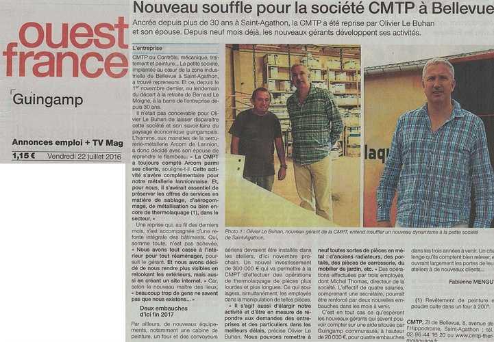 Reprise de CMTP par Olivier le Buhan<br> articleouestfrance22.07.16copie